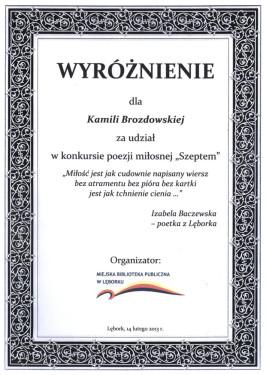 Dyplom - Kamila Brozdowska