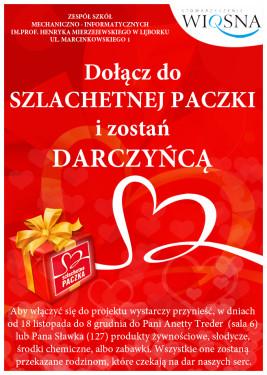 Plakat promujący Szlachetną Paczkę w ZSMI
