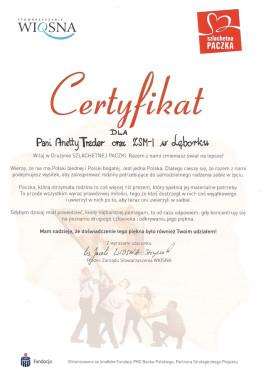 Certyfikat Szlachetna Paczka